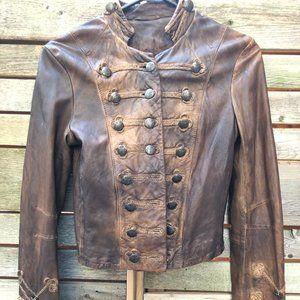 All Saints Leather Karst Military Jacket